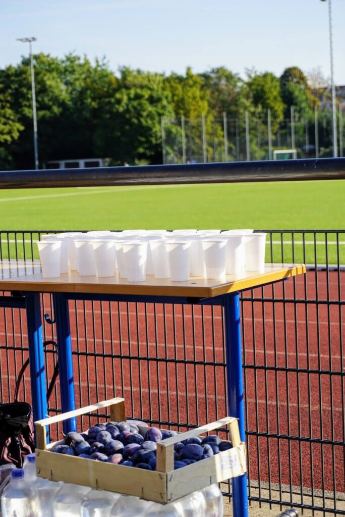 Stand mit Erfrischungen für die Läufer*innen